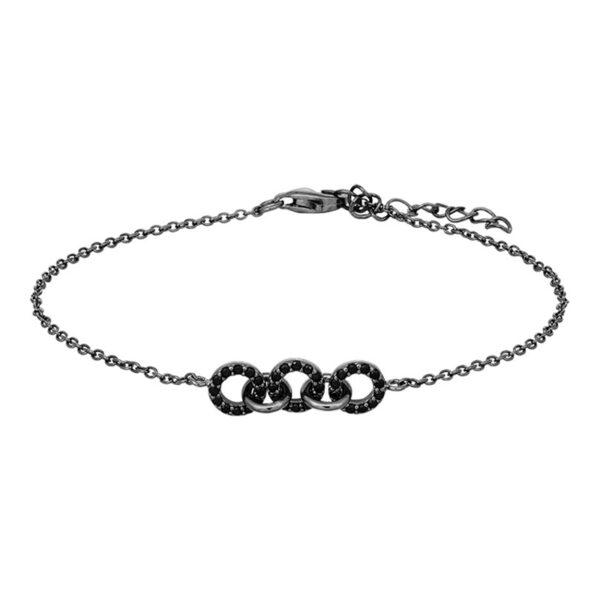 JOANLI Dina armbånd i sort sølv med små cirkler
