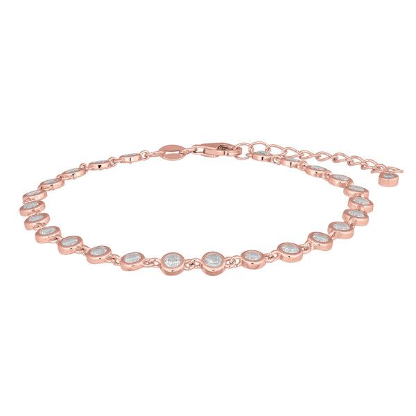 Joanli FannyNor armbånd i rosaforgyldt med klare cubic zirkoner