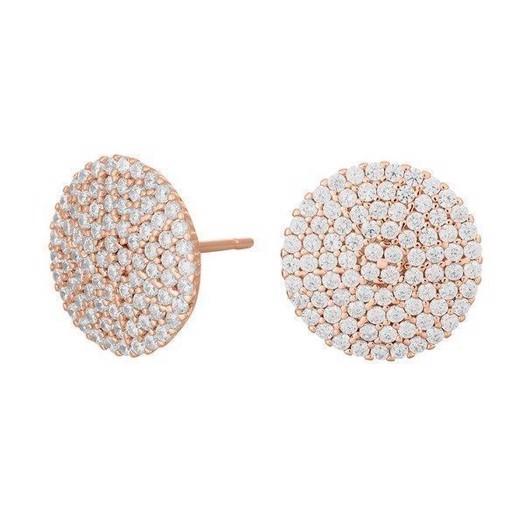 Joanli Nor - Bell - Rosa forgyldte sølv ørestikker med zirkonia