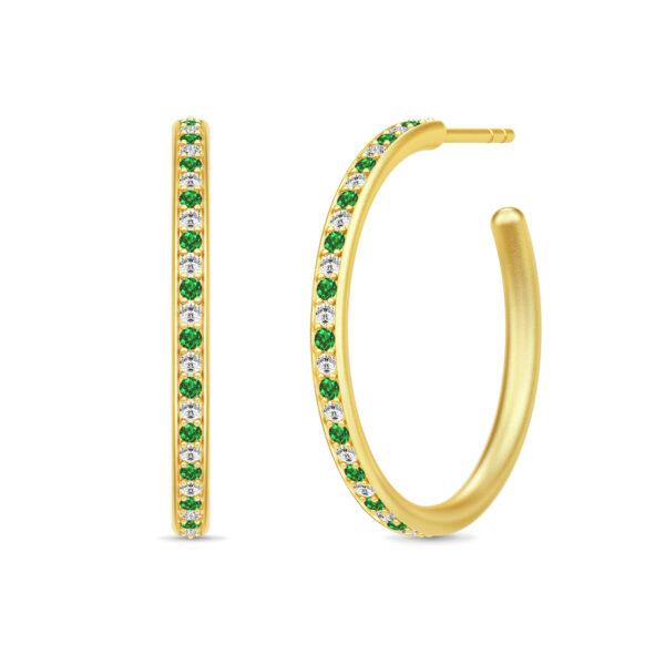 Julie Sandlau Infinity Hoops øreringe i forgyldt med grøn cz