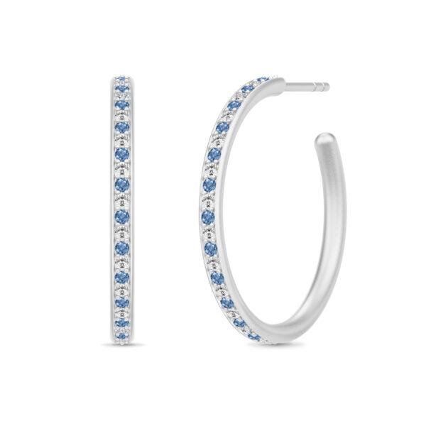Julie Sandlau Infinity Hoops øreringe i sølv med blå cz