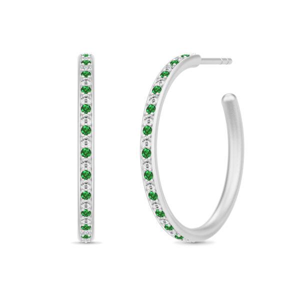Julie Sandlau Infinity Hoops øreringe i sølv med grøn cz