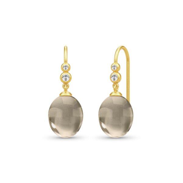 Julie Sandlau Nova Forgyldt Sølv Øreringe med Røgfarvet Krystal