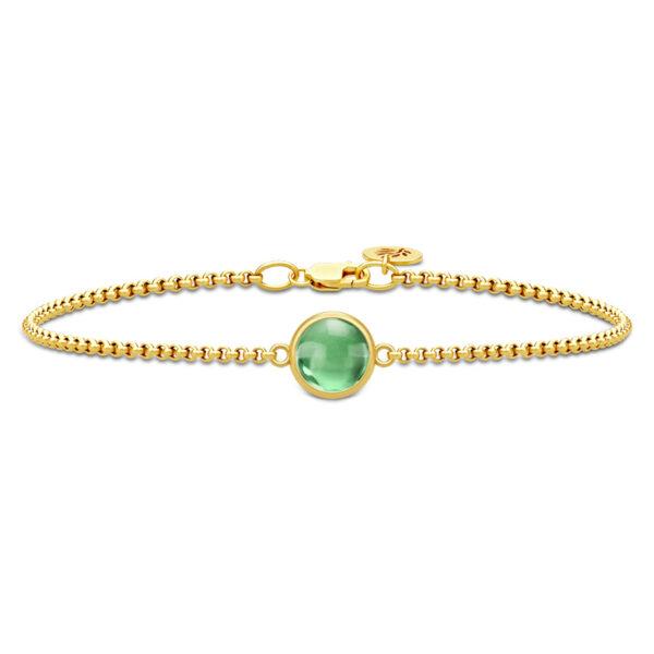 Julie Sandlau Primini armbånd i forgyldt med grøn krystal