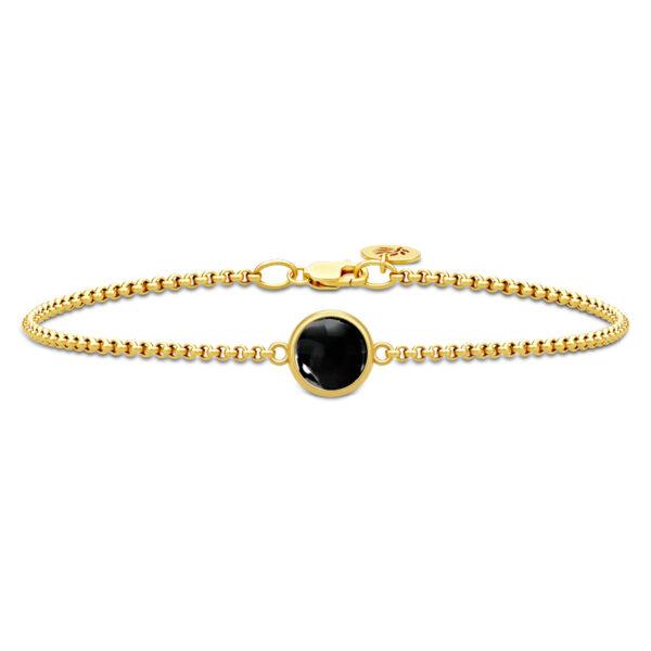 Julie Sandlau Primini armbånd i forgyldt med sort krystal