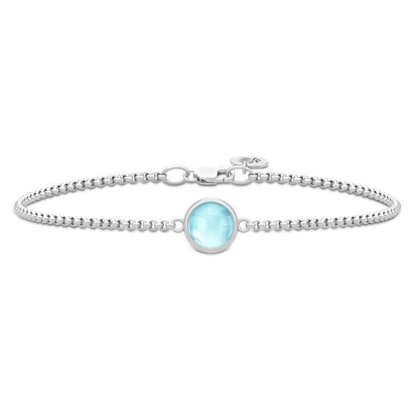 Julie Sandlau Primini armbånd i sølv med lyseblå krystal