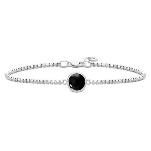 Julie Sandlau Primini armbånd i sølv med sort krystal