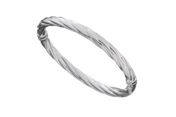 LUND Armring i sølv, snoet hængsel, 5 mm