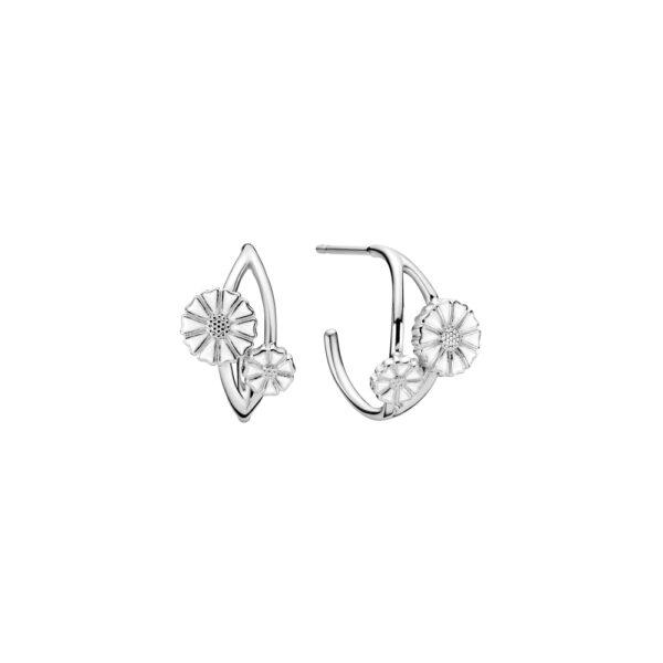 LUND Marguerit øreringe i sølv med 2 blomster