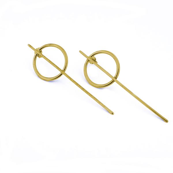 Lange guld Q øreringe