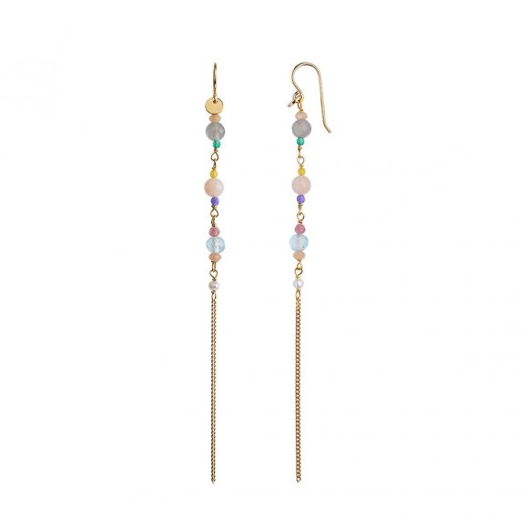 Long Earring With Stones And Chain - Candy Floss Mix 1pc | Forgyldt Fra Stine A