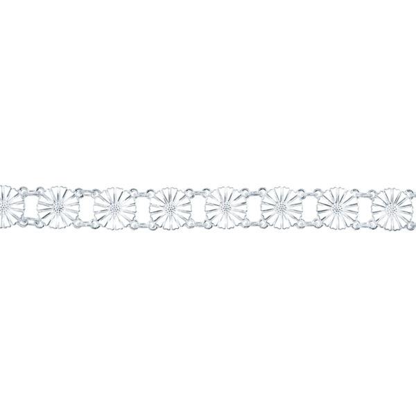 Lund Copenhagen Marguerit Armbånd 13x11 mm Sølv Hvid emalje