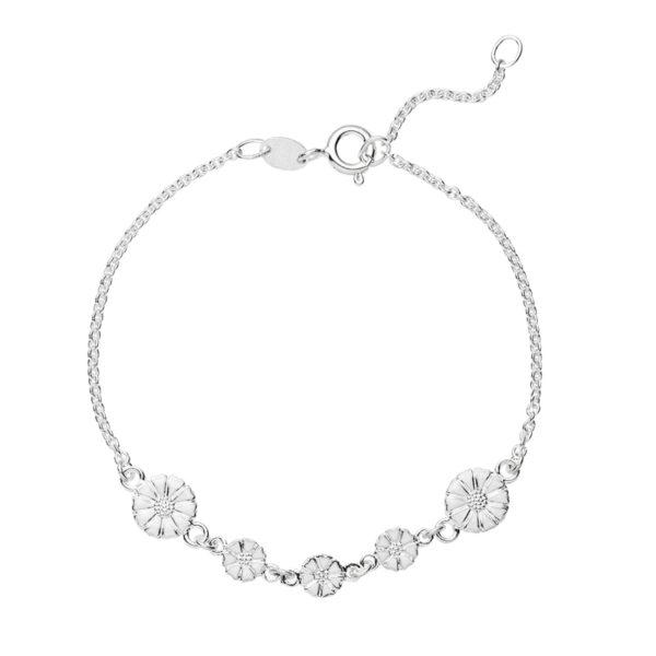 Lund Copenhagen Marguerit Armbånd i sølv med hvid emalje med 5 margueritter