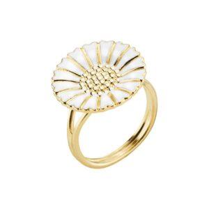 Lund Copenhagen Marguerit Ring Forgyldt med hvid emalje, 18 mm