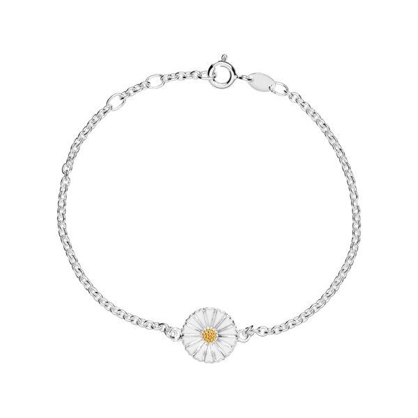 Lund Copenhagen Marguerit armbånd i sølv med hvid emalje, 11mm
