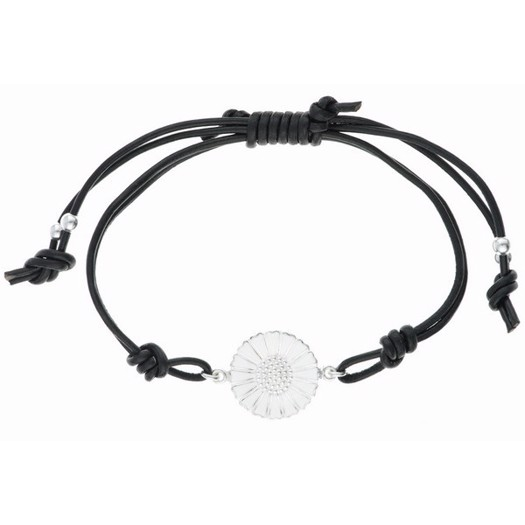 Lund Copenhagen - Marguerit armbånd i sølv og sort læder
