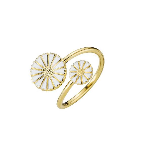 Lund Copenhagen Marguerit ring, 2 blomster i forgyldt med hvid emalje
