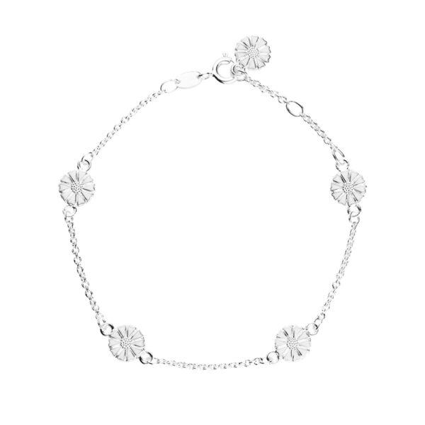 Lund Copenhagen marguerit armbånd med 5 margueritter i sølv med hvid emalje