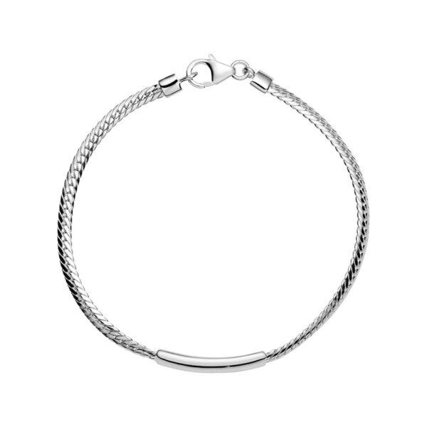 Lund Copenhagen sølv fladt panser armbånd med rør