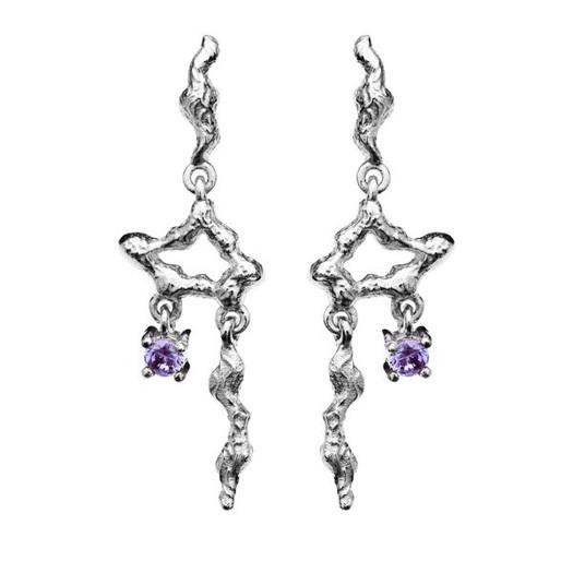 Maanesten - Alari øreringe i sølv med lilla sten