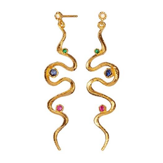 Maanesten - Asha øreringe i forgyldt sølv med farvede zirkoner**