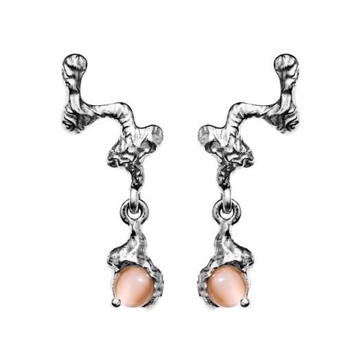 Maanesten - Drea ørering i sølv med orange sten
