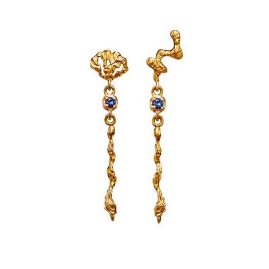 Maanesten - Fania ørering i forgyldt med blå sten