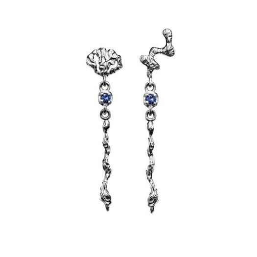 Maanesten - Fania ørering i sølv med blå sten