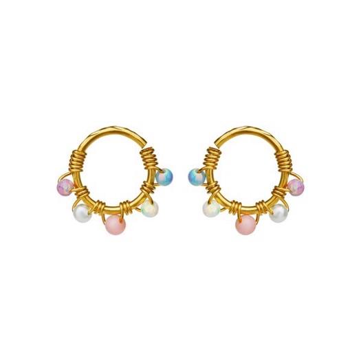 Maanesten - Fiona multi perle øreringe i forgyldt sølv**