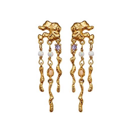 Maanesten - Jelly øreringe i forgyldt med sten