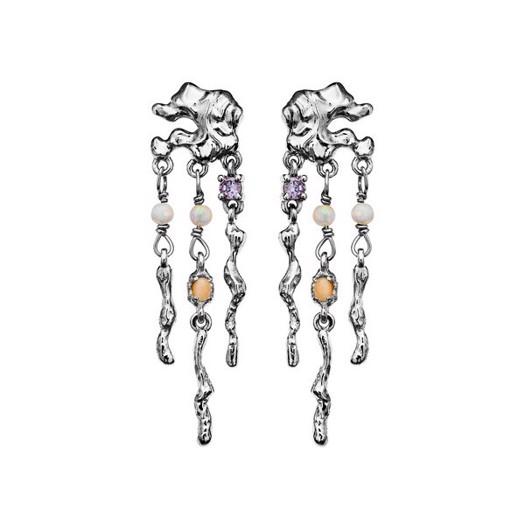 Maanesten - Jelly øreringe i sølv med sten