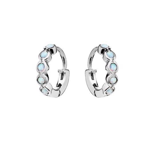 Maanesten - Kanya creol i sølv med blå opal