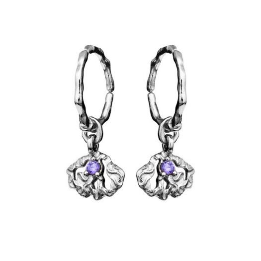 Maanesten - Kendra creol i sølv med lilla sten