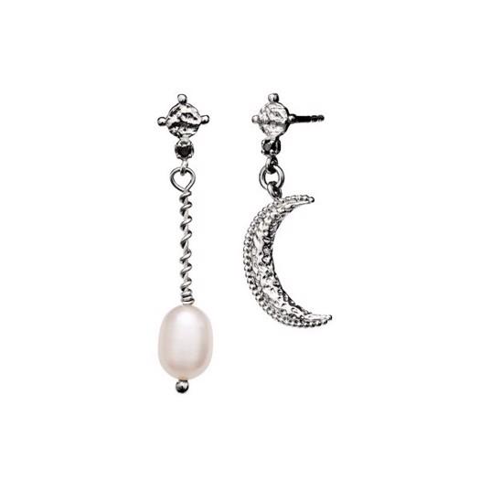 Maanesten - Nyla ørering i sølv med måne og perle