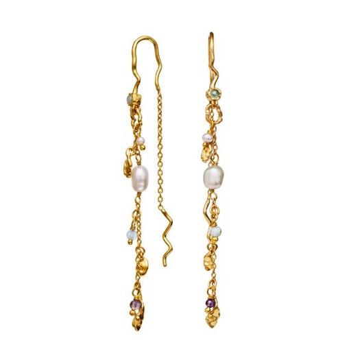 Maanesten - Poppy øreringe i forgyldt med perler og sten