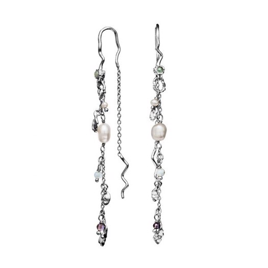 Maanesten - Poppy øreringe i sølv med perler og sten