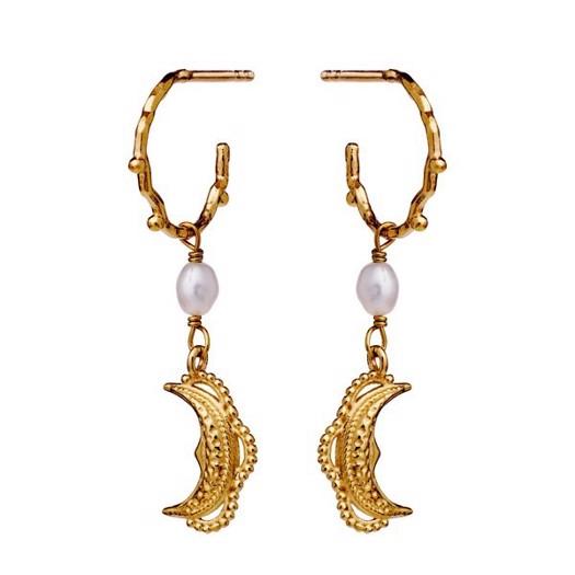 Maanesten - Romina øreringe i forgyldt sølv med perle