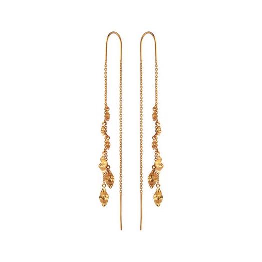 Maanesten - Una øreringe i forgyldt med flager af guld