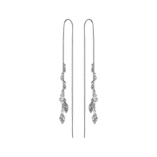 Maanesten - Una øreringe i sølv med flager af sølv