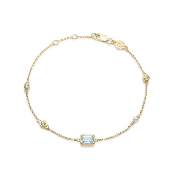 Mads Z Aurora 14 kt. guld armbånd med Topas, Peridot og perle