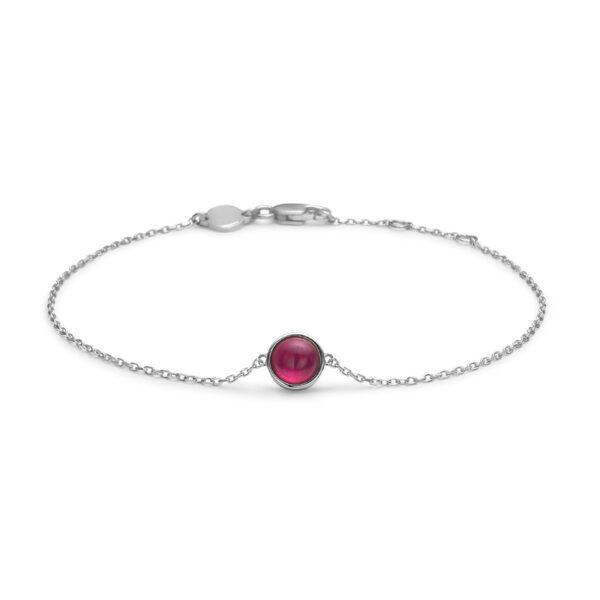 Mads Z Cabochon armbånd i sølv med rød rubin, 16+2cm