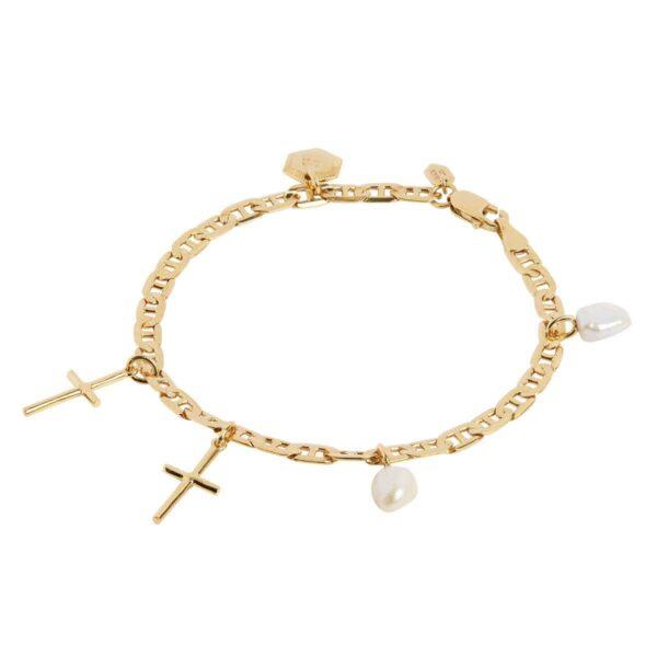 Maria Black Cross charm armbånd - Guld, Str. M