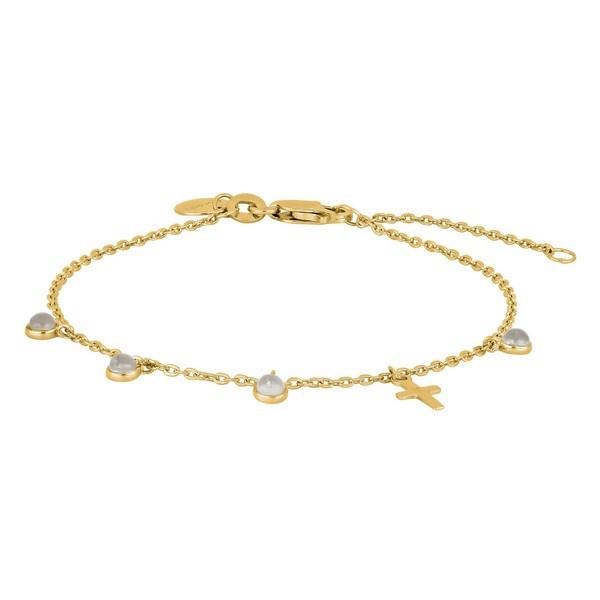 Nordahl Jewellery - CROSS52 armbånd m. kors og sten i forgyldt