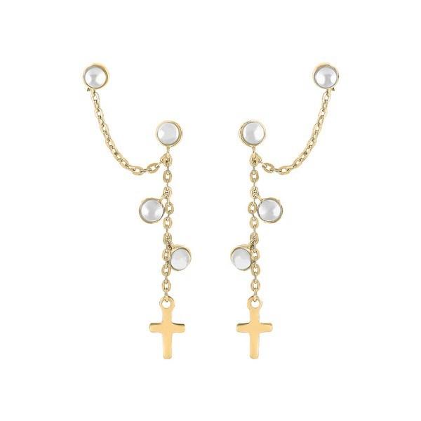 Nordahl Jewellery - Dobbelt CROSS52 Øreringe i forgyldt