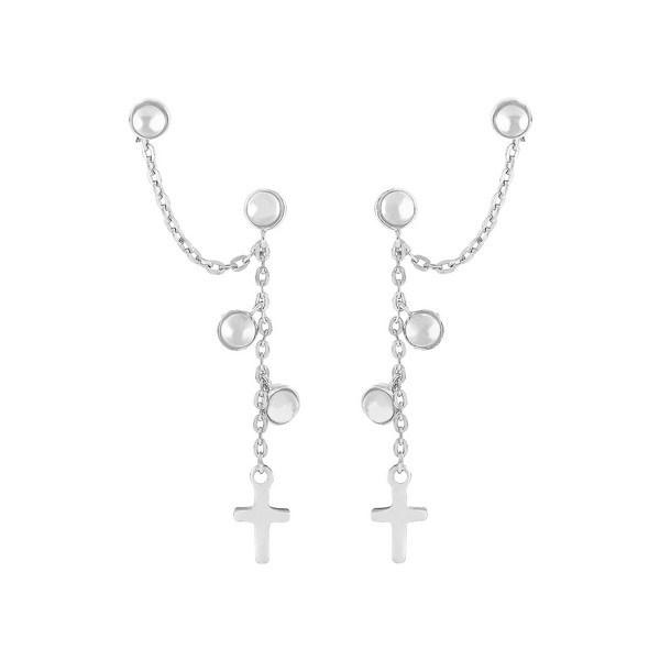 Nordahl Jewellery - Dobbelt CROSS52 Øreringe i sølv