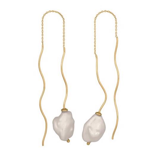 Nordahl smykker - Baroque, ørekæde med perle i forgyldt
