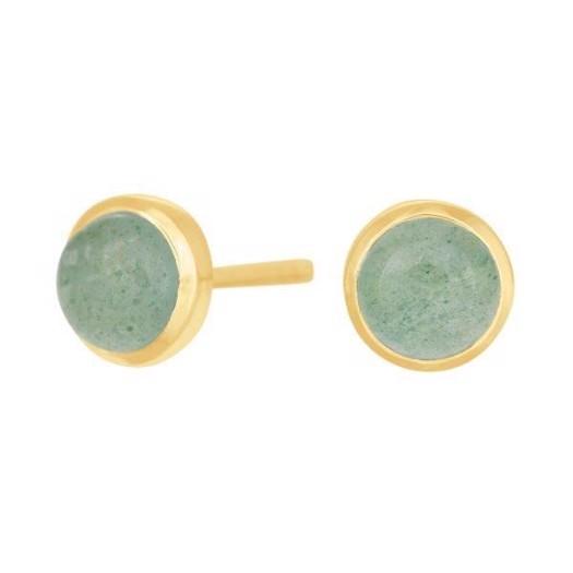 Nordahl smykker - Stor SWEETS Forgyldte Øreringe med Grøn aventurin