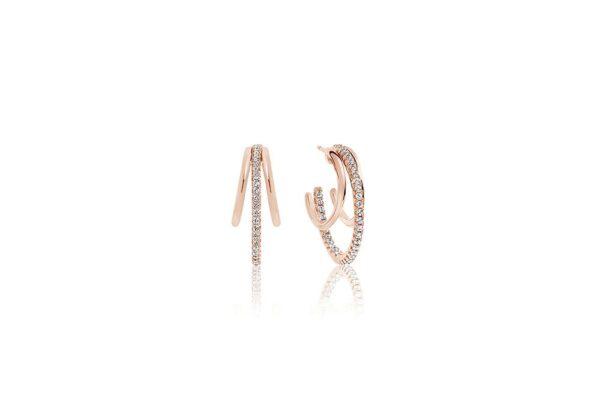 Øreringe Ozieri - 18 kt. Rosaforgyldt med hvide zirkoner