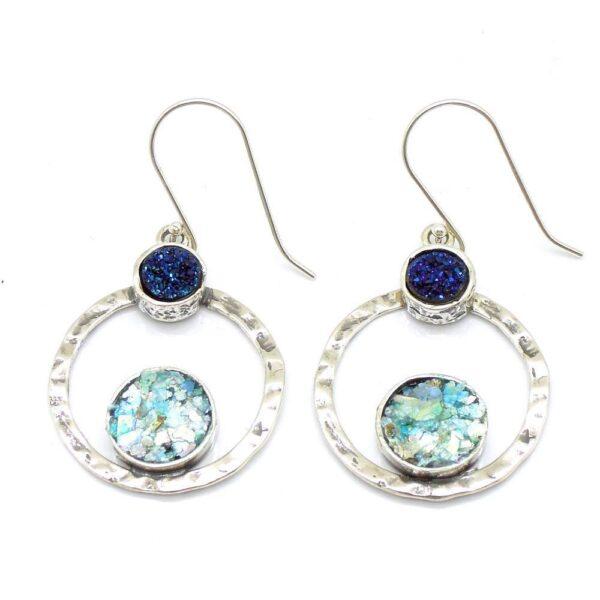 Øreringe med blå Druzy Agat sten og romersk glas