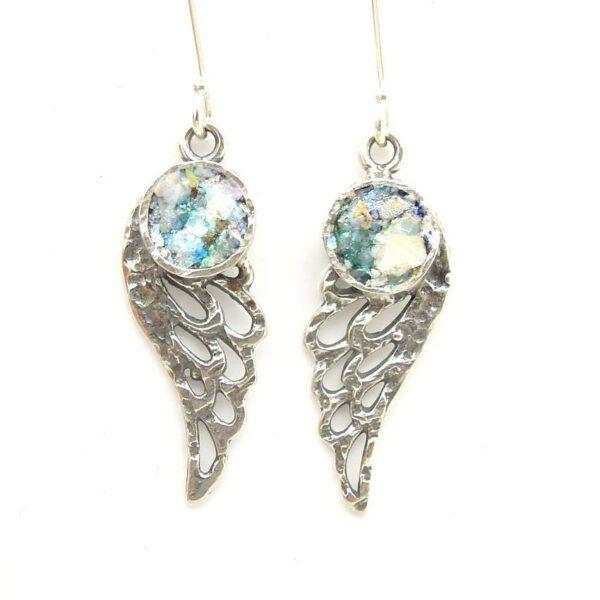 Øreringe med englevinger og romersk glas